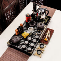 功夫茶具套�b家用整套��木茶�P特�r紫砂泡茶�乇�陶瓷玻璃配件