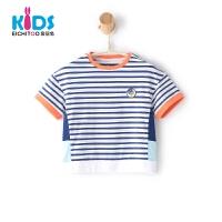 爱居兔童装2018夏季男小童条纹短袖T恤