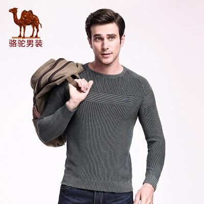 骆驼男装 秋季新款男士毛衣 日常休闲套头针织衫