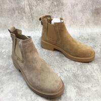 切尔西靴圆头纯色磨砂面低跟短靴2018秋冬新款女鞋时尚做旧