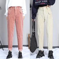 灯芯绒裤子女秋冬新款哈伦裤韩版高腰显瘦百搭奶奶萝卜条绒裤
