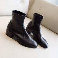 SW瘦瘦靴女2019秋季新款袜靴33-40大码百搭弹力靴粗跟中跟短靴子