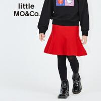 【折后价:187.6】littlemoco中大童男女童装纯色罗纹针织鱼尾伞裙半身裙KA1643SKT01 moco