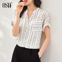 【2件1.5折价:159元】OSA欧莎V领衬衣2021年新款夏季短袖别致上衣