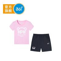 【下单立减3折价:53.7】361度童装 女小童套装2019夏季新品图案款可爱女小童装短袖短裤