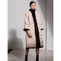 新年特惠双面呢大衣女中长款气质妈妈冬装洋气中老年高贵刺绣毛呢外套