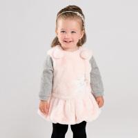 davebella戴维贝拉童装冬季新款女童假两件裙子宝宝连衣裙DB12363