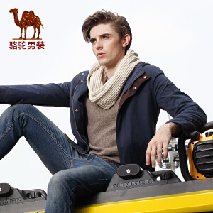 骆驼男装 新款秋季宽松中长款纯色拉链外套风衣男