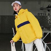 羽绒女短款学生两面穿棉袄2018新款韩版宽松冬季加厚棉衣外套 黄色 黄+白 S 85-100斤