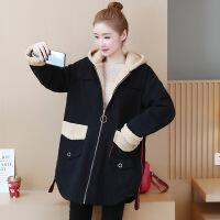 新颖潮牌 胖妹妹2019冬季女装加厚棉衣中长款宽松大码胖mm羊羔毛外套200斤
