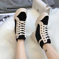 冬季英伦马丁靴加绒棉女鞋保暖短靴学生雪地靴高帮休闲鞋复古百搭 黑色 A97K