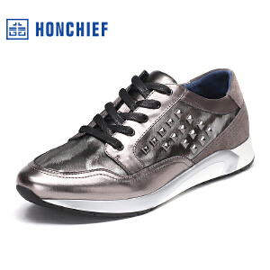 红蜻蜓旗下品牌  HONCHIEF男鞋休闲皮鞋秋冬休闲鞋子男板鞋KTA1012