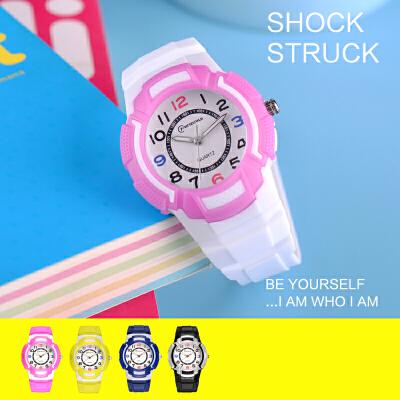 儿童手表中小学生男女孩电子表 夜光防水潮石英表时尚果冻表
