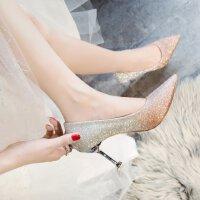 渐变色高跟鞋女伴娘婚鞋浅口性感猫跟5-7cm尖头银色礼服水晶单鞋