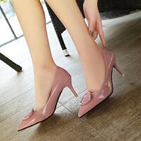 女鞋高跟鞋细跟尖头小根中跟5cm浅口方扣学生百搭皮鞋工作亮光单