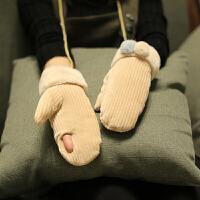 韩版秋冬天女学生可爱棉手套冬季骑车防寒加绒加厚保暖挂脖露指头