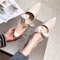 尖头单鞋女2019春季新款时尚低跟蝴蝶结女鞋百搭气质奶奶鞋女鞋