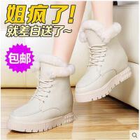 邻家天使 雪地靴兔毛坡跟短靴内增高加绒厚底棉鞋毛鞋 女鞋2198-9