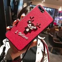苹果7手机壳刺绣布纹iPhonexsmax手机壳女x手机壳苹果8plus手机壳可爱猪年防摔xr手机壳苹果6手机壳硅胶全