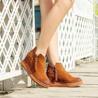 【18新款】上新时尚潮流【真皮】铆钉侧拉链短靴马丁靴坡跟短靴
