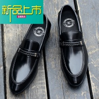 新品上市英伦风男士商务正装皮鞋男真皮尖头男鞋韩版休闲鞋一脚蹬牛皮鞋子 黑色