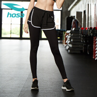 hosa浩沙瑜伽服 女士跑步健身假两件九分裤 修身舞蹈训练裤