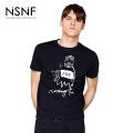 NSNF纯棉抽象卡通图案黑色圆领T恤男  短袖t恤男装2017新款 修身圆领针织短袖