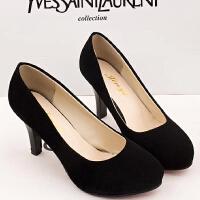 高跟鞋女黑色职业防水台绒面磨砂3-5cm中跟工作大码小皮鞋女圆头