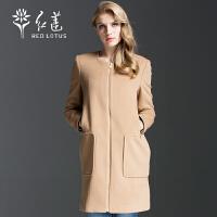 红莲 秋装新款女式简约时尚修身中长款羊绒大衣