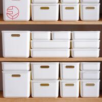 日本霜山带盖收纳盒桌面化妆品发饰杂物整理盒塑料储物盒可叠加