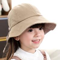儿童帽子春秋女宝宝帽子公主可爱盆帽女童遮阳帽渔夫帽夏