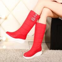红色厚底学生女靴子舒适水保暖加厚加绒休闲秋冬季羽绒靴