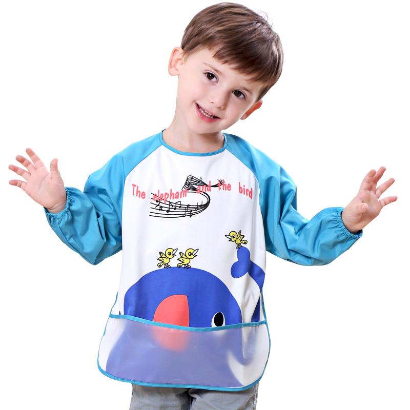 儿童罩衣长袖反穿倒背护衣婴儿防水秋冬围兜四季罩衫