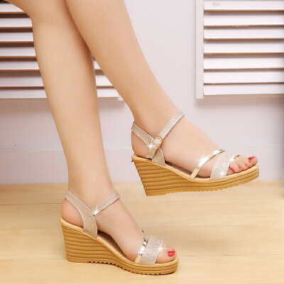 坡跟凉鞋女夏高跟新款百搭韩版波西米亚一字扣带学生夏季女鞋