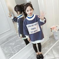 儿童卫衣 女童加绒加厚卫衣2020冬季新款韩版贴布绒衣女童中大童长袖字母套头衫