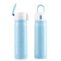 不锈钢保温杯 礼品杯女士办公真空随手水杯便携水杯男女学生儿童杯子可爱 500ML 蓝色