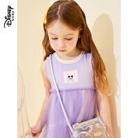 【品牌日3件3折预估价:47元】迪士尼婴幼儿童装20夏新款梦幻童年女童针织网纱拼接背心连衣裙