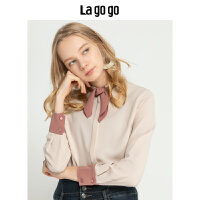 Lagogo/拉谷谷2019年冬季新款时尚女学院风淑女衬衫HCCC45YM12