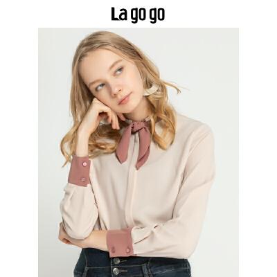 【清仓3折价107.7】Lagogo/拉谷谷2019年冬季新款时尚女学院风淑女衬衫HCCC45YM12