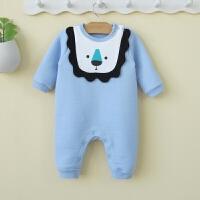 男婴儿冬装0-3-6个月爬服新生儿连体冬天衣服保暖宝宝春秋哈衣12