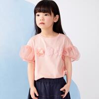 【1件秒杀价:120】马拉丁童装女童T恤2020夏装新款可爱图案网纱泡泡袖短袖T恤