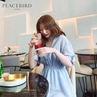 蓝色条纹连衣裙春女2019新款镂空领系带收腰连体短裙太平鸟女装