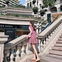 卡贝琳女2019新款秋季维多利亚复古格子裙法式荷叶边仙女裙chic温柔粉色连衣裙