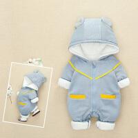 婴儿外出服秋冬加绒加厚0-12个月宝宝连体衣冬装棉衣外穿冬抱衣