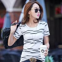 夏季新款不规则条纹棉休闲女式T恤上衣 韩版短袖圆领t恤