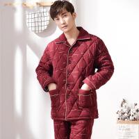 2019新款冬季男士睡衣纯棉加厚夹棉保暖长袖全棉冬天家居服套装加肥加大码