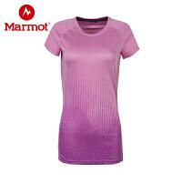 Marmot/土拨鼠户外运动女式轻量透气圆领舒适吸汗短袖针织速干T恤