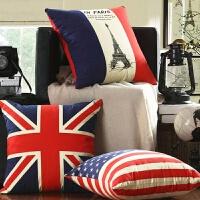 纯棉床头靠枕米字旗美式复古沙发抱枕靠垫套不含芯英伦风客厅