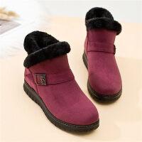中年女鞋加绒保暖妈妈鞋短筒女靴雪地靴平底滑孕妇棉鞋女