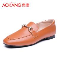 【清仓】奥康女单鞋平底鞋小皮鞋懒人乐福鞋一脚蹬豆豆鞋女